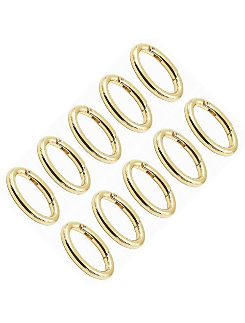WEICHUAN 10PCS Zinc Alloy Oval Spring Clip Carabiner - Gate Oval Ring Carabiner Snap Clip Trigger Spring Keyring Buckle, Organizing Accessory/Metal Secure Holder/Durable