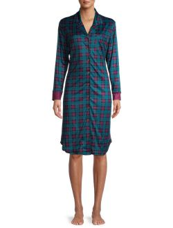 Women's And Women's Plus Notch Collar Pajama Sleepshirt