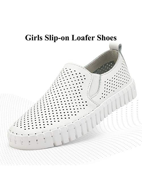 DREAM PAIRS Girls Slip-on Sneakers Comfortable Loafer Shoes