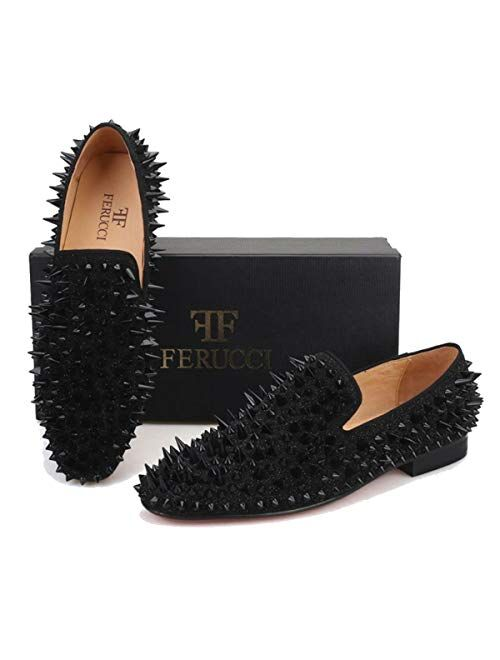 FERUCCI Men Black Spikes Slippers Loafers Flat with Crystal GZ Rhinestone