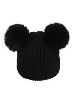 Baby Winter Hat Unisex Infant Toddler Kids Boys Girls Knited Woolen Hat Cute Double Pom Pom Warm Headgear Beanies Caps