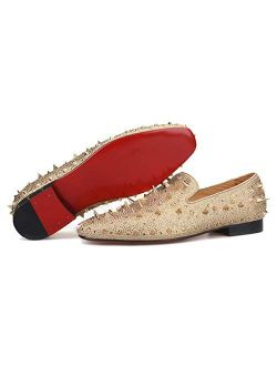 FERUCCI Men Gold Spikes Slippers Loafers Flat with Crystal GZ Rhinestone
