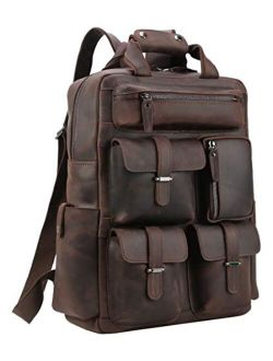 Polare Cowhide Leather Multiple Laptop Backpack Day pack Travel Bag Satchel with YKK Metal Zippers