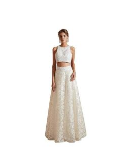 Women's Bohemia Wedding Dresses Beach Tow Piece Long Lace Bride Beaded Gowns White