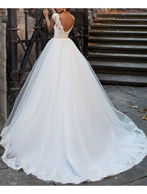 Fishlove Vintage Inspired Vestido De Novia 2017 Cap Sleeves Sheer Lace Bridal Wedding Dresses W39