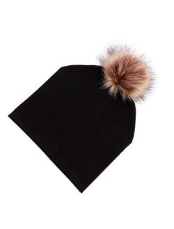 HGDD The New Double-Layer Cotton Pullover hat Baby Raccoon Fox Fur Ball Children Cap (Color : Pink)