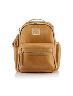 Chelsea + Cole for Itzy Ritzy Mini Diaper Bag Backpack - Studded Mini Diaper Bag Backpack with Changing Pad, 8 Pockets, Rubber Feet & Tassel; Caramel with Sweetheart Prin