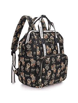 Pipi bear Diaper Bag Backpack Stylish Cute Large Capacity Baby Travel Back Pack Nappy Bag for Mom Dad Boys Girls (Cream)