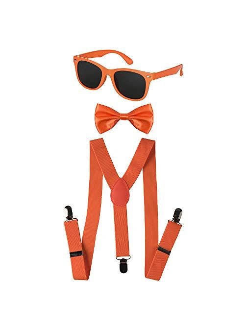 Dress Up America Neon Suspender, Bow-tie, Sunglasses, Accessory Set - Adult and Kids Size Suspenders