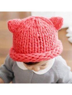 HGDD Children hat Autumn and Winter Warm Hand-Knitted Baby line coarse Wool Cap Influx of Korean Children Baby hat (Color : White)