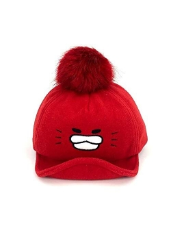 HGDD Embroidery Cap hat Autumn and Winter Thick Ugly Duckling Baby Cute Children's Cartoon hat (Color : Blue)