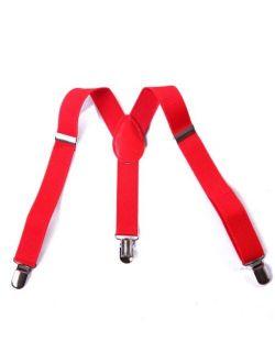 Red Kid Boys Solid Color Adjustable Elastic Y Back Clip Suspenders