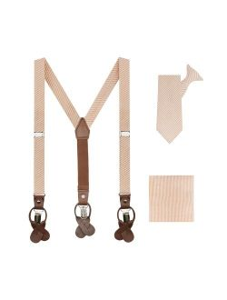 Boys' Seersucker Suspenders 11 Inch Clip-on Neck Tie And Pocket Square Set - Peach