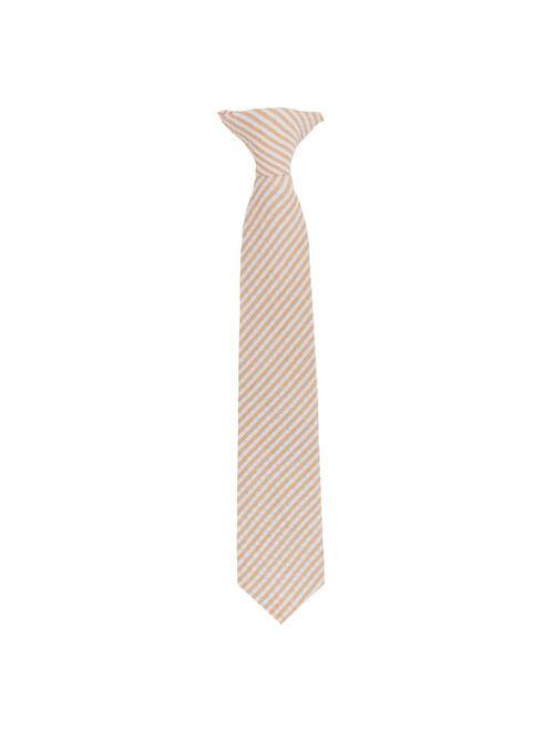 Jacob Alexander Boys' Seersucker Suspenders 11 inch Clip-On Neck Tie and Pocket Square Set - Peach