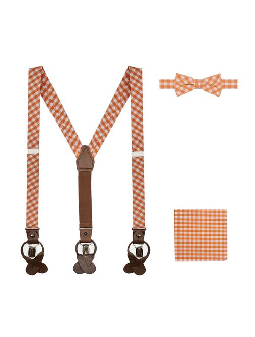 Jacob Alexander Boys' Gingham Checkered Pattern Suspenders Pre-Tied Banded Bow Tie and Pocket Square Set - Orange