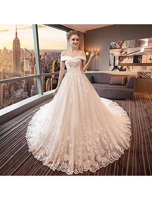 Lace Wedding Dress Ball Gown Off Shoulder Long Train Tulle Bride Dress Beaded Applique Bridal Gown