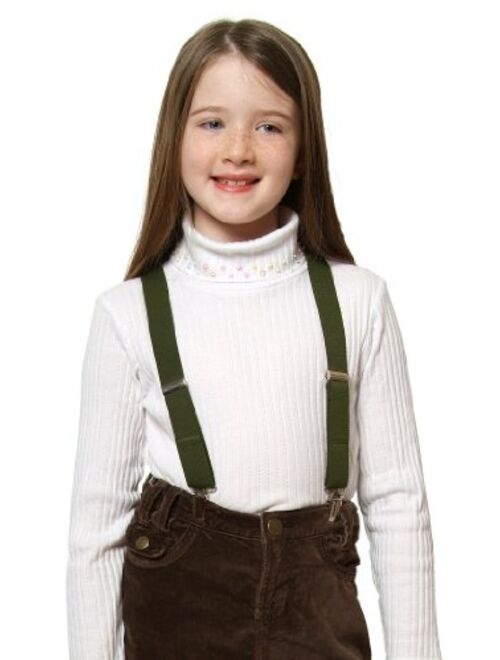 """Hold'Em Suspenders for Kids Boys and Baby - Premium 1 Inch Suspender Perfect for Tuxedo - Olive Green (26"""")"""