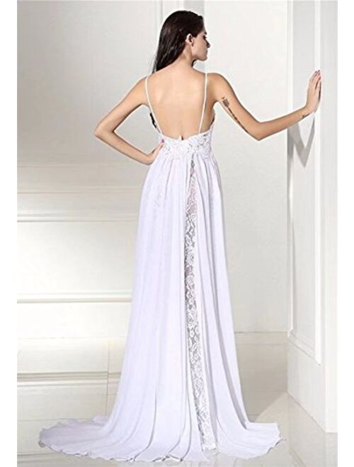 Fishlove Womens Sexy Side Split Lace Evening Party Prom Beach Wedding Dress