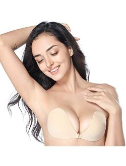 Whifenny Adhesive Sticky Bra Backless Strapless Stick on Bra Push Up No Show Invisible Silicone Lift Tape for Women Dress (L) Nude