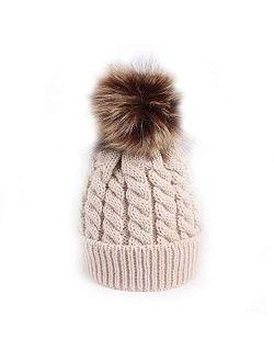 Winter Warm Baby Hat Fur Pompom Knitted Baby Girls Boys Hat Cap Infant Toddler Kids Hat Beanie Kids Children Caps Bonnet Beige(Fast delivery)