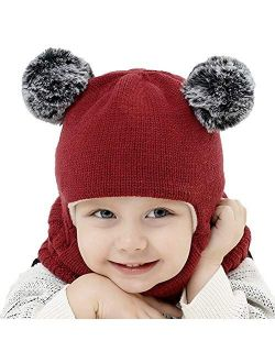 Kids Winter Hats Ears Girls Boys Children Warm Caps Scarf Set Baby Bonnet Enfant Knitted Cute Hat for Girl Boy Dropship 6(Fast delivery)
