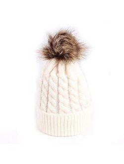 Winter Warm Baby Hat Fur Pompom Knitted Baby Girls Boys Hat Cap Infant Toddler Kids Hat Beanie Kids Children Caps Bonnet White(Fast delivery)