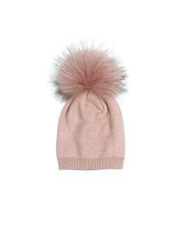 WZHZJ Children's Knit Beanie Hat Dyeing Raccoon Fur Pom Pom Winter Hat Boy Girl Warm Skullies Bone Brand Kids Baby Soft Cap