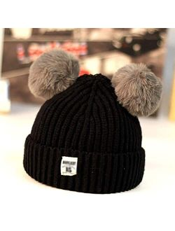 WZHZJ Baby Beanies Hats Children Knitted Pompon Winter Autumn Cute Cap for Girls Boys Casual Solid Color Warm Girl Hat with Two Balls (Color : Black)