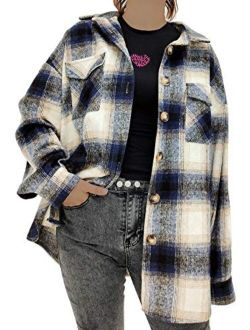 Womens Casual Oversize Label Button Down Long Sleeve Blend Wood Plaid Shacket Jacket Coat