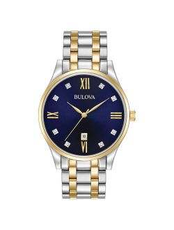 Men's Diamonds Blue Dial Two Tone Bracelet Watch 98d130
