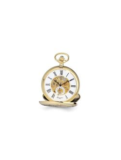 "Charles Hubert Gold Finish White Skeleton Dial 53mm Pocket Watch 14.5"""
