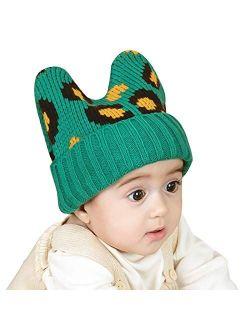 WFF Hat Cap Baby Hat Cute Rabbit Ears Earflap Warm Knit Benaie with Leopard Print Infant Toddler Girls Winter Hats (Color : 1 Piece)