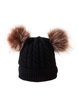 HGDD New Hot Double Twist Ball Baby Knitted hat Autumn and Winter Warm hat Children Hedging (Color : Khaki)