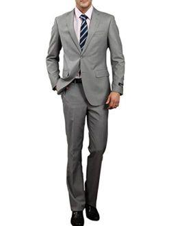 MOGU Men's Gray Solid Slim-fit Two-Button Center Vent Suit
