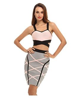 Women's Ribbon Embellished Top And Skirt Set 2 Piece Party Bandage Dress