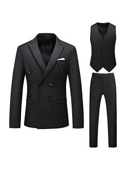 MOGU Mens 3 Piece Double Breasted Suits Slim Fit Notch Lapel Solid Color Prom Tuxedo (Blazer + Pants + Vest)
