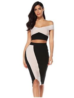 meilun Womens Two Piece Set Bandage Top&Skirt Bodycon Party Club Dress