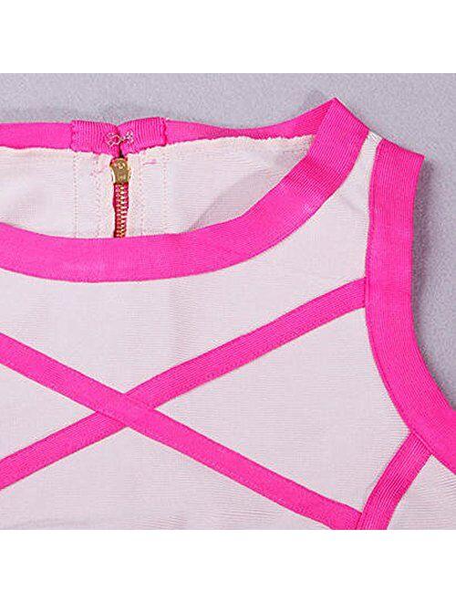 HLBandage Sleeveless Crop Top Skirt Two Piece Set Rayon Bandage Dress