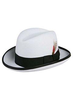 Godfather Homburg Fedora Hat in White with Black Band