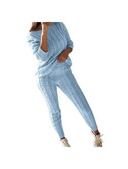 Gift for Women Ladies,Womens Ladies Solid Round Neck Cable Knitted Warm 2PC Loungewear Suit Sets Casual Wear