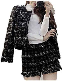 NatrE Women Crew Neck Cropped Outwear Open Front Two Piece Set Fashion Frayed Trim Jacket Plaid Shorts Tweed Blazer