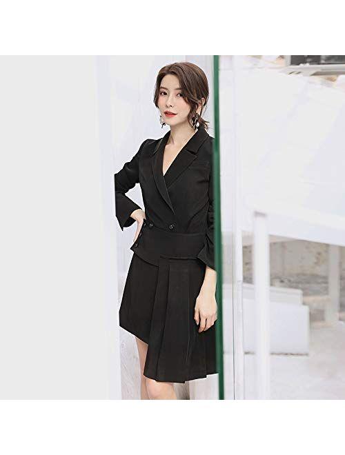 UUYUU Women Business Skirt Suit Fashion Elegant Irregular Ruffles Blazer+Mini Skirt Black Two Piece Office Sets (Size : Medium)