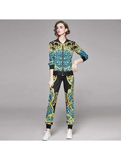 UXZDX Sports and Leisure Suit 2021 Spring New Long-Sleeved Baseball Uniform Jacket and Foot Pants Printing Two-Piece Suit (Size : Medium)