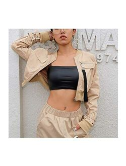 Women Suit Crop Tops Pants Work Suits Two Piece Set Office Lady Casual Buckle Long Sleeves Blazer Jacket and Pant