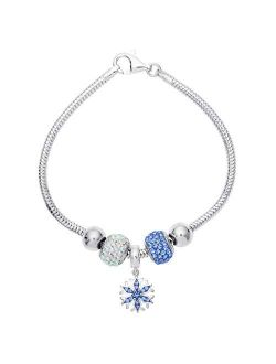 """Frozen Snowflake And Crystal Beads Sterling Silver Bundle Bracelet, 7.5"""""""