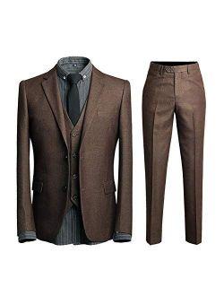 Mens 3 Piece Suit Set Formal 2 Button Slim Fit Dinner Tux Dress Blazer Vest Pants