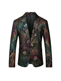 Mens Sports Coat Colorful Dinner Jacket Printed Blazer Show Prom