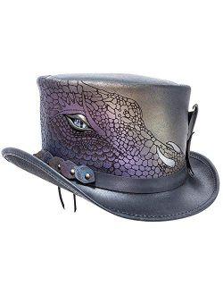 American Hat Makers Draco Dragon Top Hat - Laser Engraved Scale, Serpentine Eye