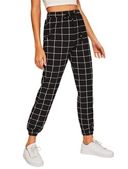 Women's Tie High Waist Striped Plaid Casual Long Pants With Pockets
