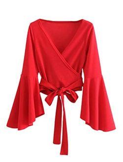 Women's Long Sleeve V Neck Tie Knot Bandage Wrap Blouse Crop Top